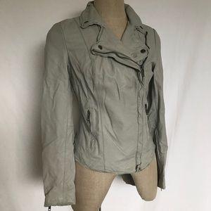 Gray Leather Biker Jacket
